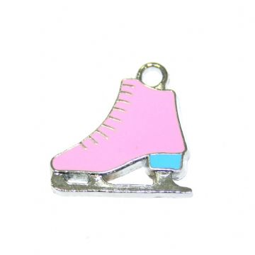 1pce x 20*17mm Rhodium plated pink/light blue ice skate boot enamel charm - S.D03 - CHE1027